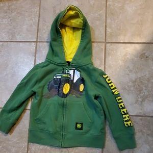 🚜Full zip up John Deere hoodie size 2T🚜